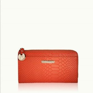 Gigi New York Orange Embossed Python Wallet